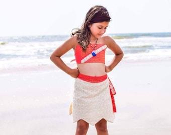 Moana Skirt, Moana Inspired Skirt Sash, Moana Costume, Moana dress up, Hawaiian Princess Skirt
