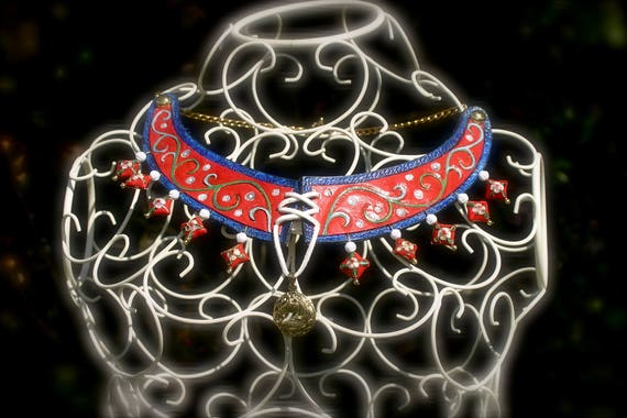 Medieval collar, necklace, embossing leather, the lady and the unicorn, medieval jewel