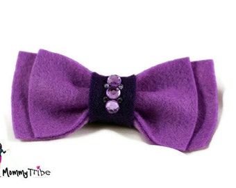 Boys Bow Tie: Purple Ribbon Bow Tie with Swarovski Crystals, Bow Ties, Purple Bow Ties, Bowties, Custom Bowites, Wedding Bow Ties