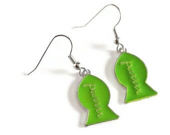 Green Cat Lover Purrr Earrings - Green Fish Shaped Cat Treat Earrings - Womens Jewelry
