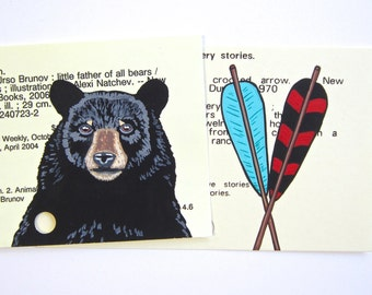SALE - ANY 2 PRINTS of Painted Library Cards - Your choice of any two prints