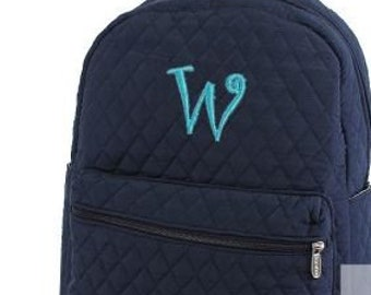 Monogram Navy Quilted Backpack