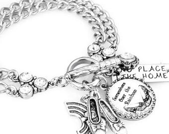 Wizard of OZ Charm Bracelet, Wizard of Oz Jewelry, Stainless Steel Charm Bracelet, Ruby Red Slippers Jewelry