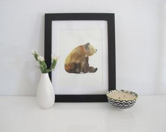 Watercolour Bear Print, Brown Bear Sitting, Watercolour Art, Art Print, Cute Happy Bear