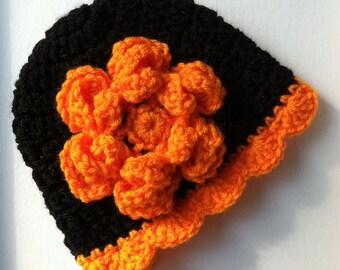 Halloween Baby Hat with Flower, Crochet Baby Hat, Newborn Hat, Orange Hat, Child Hat, Hat with Flower, Baby Girl Hat, Autumn Hat, Baby Hat