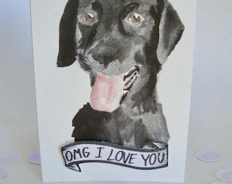 Black Lab Card- card for dogsitter, dog sitting card, thank you from dog, I love you from dog, card for pet- original design