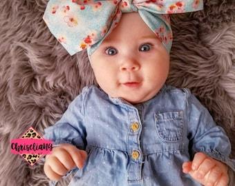 Cherry Blossoms headwrap, headwrap, fabric head wrap, baby headwrap, toddler headwrap, newborn headwrap, baby headband, floral headband