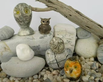 Vintage Collectible Mini Marble Owl Figurines, Natural Stone, Genuine Alabaster, Ceramic, Made in Italy, Handmade