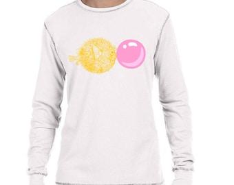 Thermal Shirt, Hipster Animal, Blowfish Blowing Bubble Tee, Thermal Tshirt, Vintage Print Blowfish T Shirt, Men's Long Sleeve