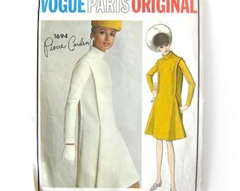 Vogue Paris Original 1694 / Pierre Cardin Dress / 60s Mod Designer Dress / Stand Up Collar Bias Sleeves Vintage Sewing Pattern / 34 Bust