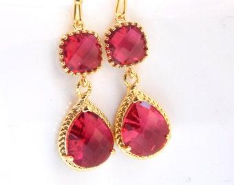 Gold Fuchsia Earrings, Fuschia Earrings, Dark Pink, Hot Pink, Long, Bridesmaid Jewelry, Wedding Jewelry, Bridesmaid Earrings, Bridal Jewelry
