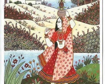 Rajasthani village woman. Fine art card