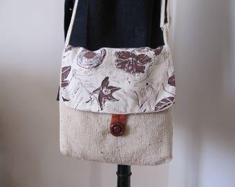 Ivory handbag, silk, floral, graphic pattern flap
