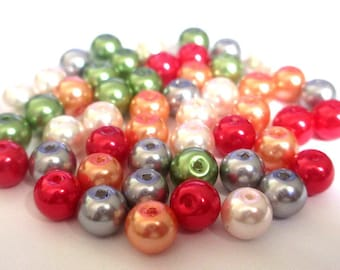 50 Pearlescent glass beads mix color 8mm (E-34)
