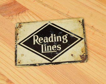 vintage Miniature Railroad Signs Tin Signs from 1950s / Post Cereal tin Railroad signs