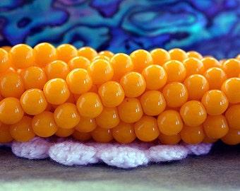 4mm Druks, Czech Glass Druks, Round Glass Beads, Opaque Sunflower Yellow Beads, Beads, Druk Beads CZ-521
