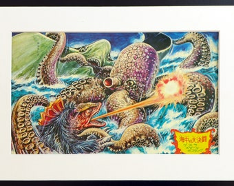Japanese Monster KAIJU vintage print from 1960s, Guesra, Sudar and Bostang, part of the Godzilla series