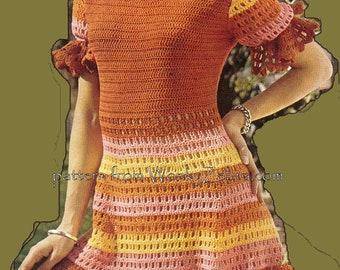 High Waist Crochet Dress PDF Vintage Pattern 296 from WonkyZebra