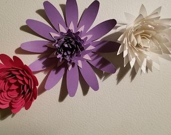 set of 3 paper flower magnets