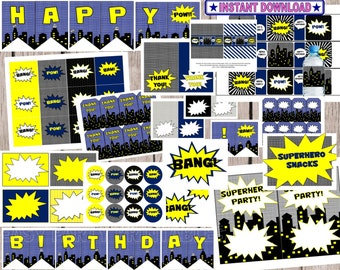 70% OFF Superhero Batman Instant Download Party Package, blue and yellow, cupcake toppers, hero party, superhero party, superhero printables