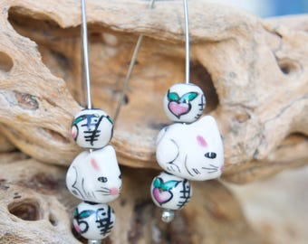 White Rabbits with Round Painted Bead V Wire Earrings - Rabbit Earrings, Easter Bunny