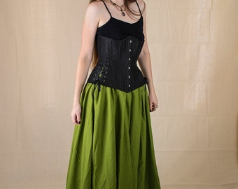 Green Linen Renaissance Skirt - Halloween Costume - Ren Faire Garb - Womens Medieval Clothing - Witch Costume - Long Skirt - SCA LARP