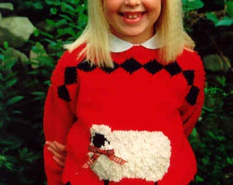 Country's Child Pattern 102: sheep BONNIE JEAN knitting pattern kids size 2-8