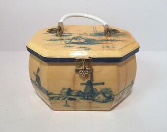 Vintage decoupage dutch scene octagon purse