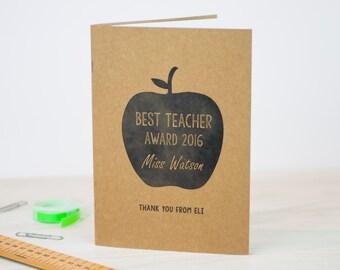 Personalised Teacher Notebook | A5 Handmade Journal | Best Teacher | Kraft Notepad | Gift