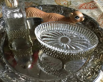 Gorgeous Hollywood Regency Metal and Glass Soap Dish and Perfume Bottle