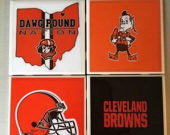 Cleveland Browns coaster set