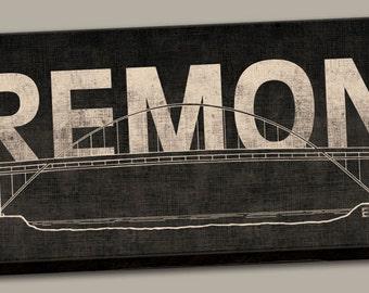 "Portland Oregon Fremont Bridge Canvas Print Sign; One 24"" x 8"" x 1.5"" Stretched Canvas"