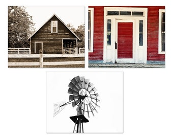 Rustic Home Decor Collection, sepia decor, red decor, black and white photography, farm decor, windmill photograph, barn photography