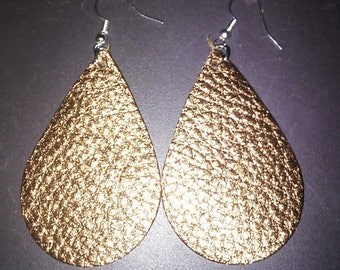 New!! Shiny Textured Hand Cut Leather Earrings. Leather Tear Drop Earrings.