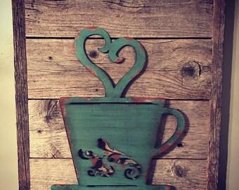 Rustic Coffee Cup, Coffee Decor, Rustic Kitchen Decor, Coffee Shop, Rustic Home Decor, Coffee Lover Gift, Reclaimed Wood Decor, Coffee Mug