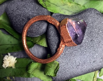 Purple Fluorite Nugget Raw Gemstone Ring I Electroformed Copper