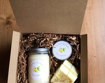 Mother's Day Gift/ Bridesmaid Gift/ Spa Gift Set/ Candle Gift Set/ Lemon Scented Spa Gift Set.