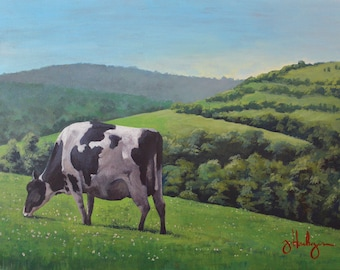 """Cow Painting on Canvas """"Always Greener"""" [PRINT], Farm Painting, Landscape Painting, Cow Art, Acrylic Painting"""