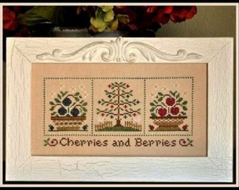 SALE** Cherries and Berries- Cross Stitch Pattern by COUNTRY COTTAGE Needleworks - Fruit - Flowers - Basket - Fruit Tree