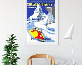 Matterhorn Disneyland Attraction Poster, Disney Attraction Poster, Disney Ride Poster, Fantasyland, Attraction Posters, B2G1, Not Framed