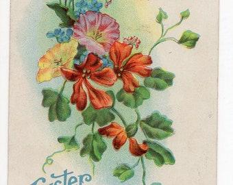 Vintage postcard - Easter postcard, Vintage Easter Greetings Postcard, flowers antique postcard
