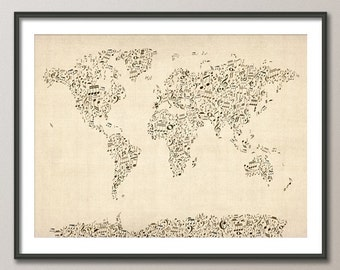 Music Notes Map of the World Map, Art Print (82)