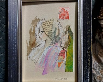 "Original mixed media small painting ""untitled diary"" 157"