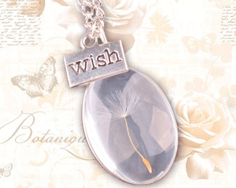 Real dandelion necklace - wish necklace - dandelion seed - dandelion jewelry - dandelion seeds - make a wish necklace - dandelion pendant