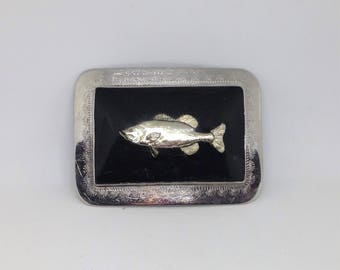 Vintage Fishing Belt Buckle, Silver Metal Fish Belt Buckle, Fishing Belt Buckle, Silver Black Fish Belt Buckle