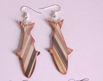Brown stripes, fish earrings