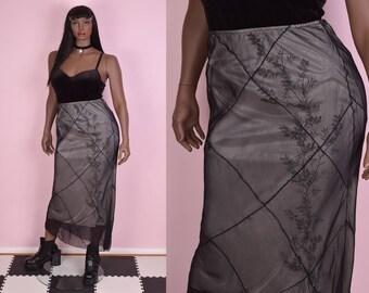 90s Black Sheer Floral Pattern Skirt/ Large/ 1990s