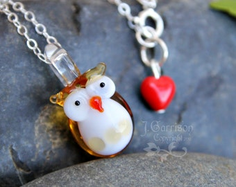 Honey Owl necklace - amber lampwork glass bird & cute red glass heart on sterling silver chain - Free Shipping USA