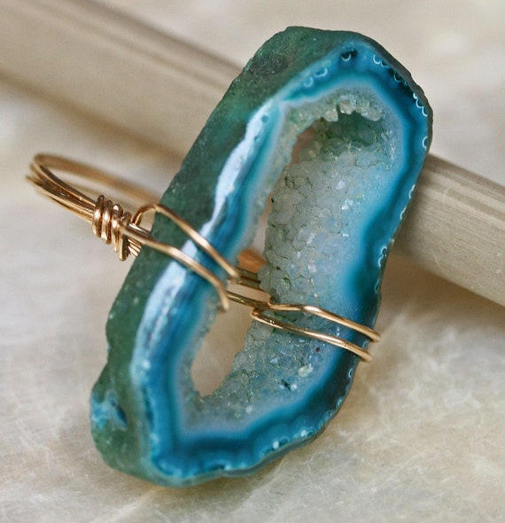 Druzy Ring - Geode Ring - Agate Slice Ring - Colorful Ring -Wire Wrapped Druzy Ring