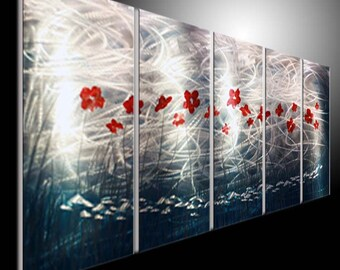 tryptych 5panel metal wall art sliver gold metallic metal painting on metal aluminum. metal wall art metal art wall. metal sculpture wall